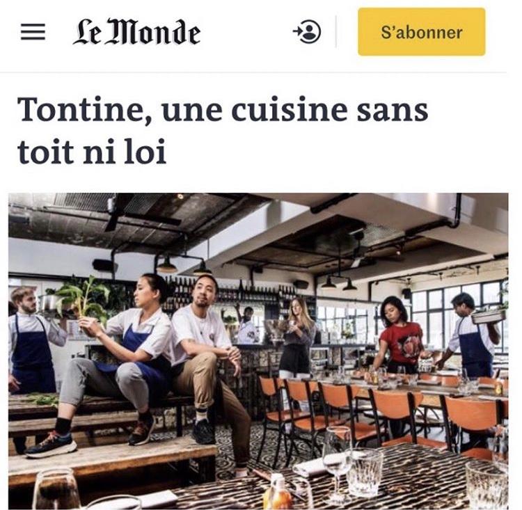 Restaurant éphémère à Paris «Tontine» – Le Monde – Avril 2019